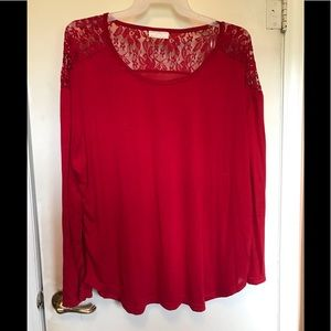 Red top with lace on back